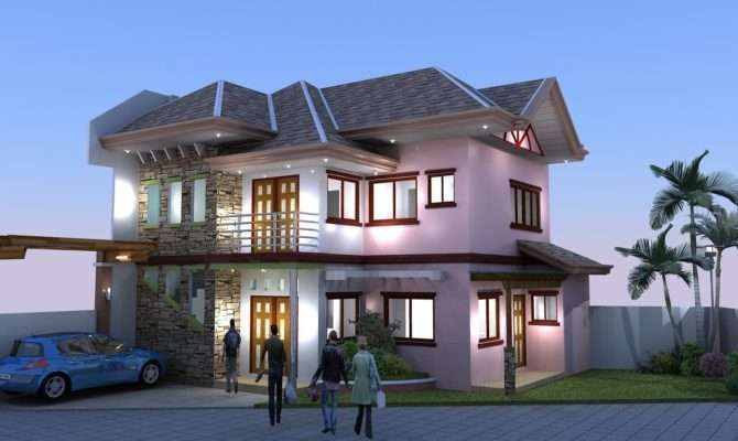 Adc Drafting Design Render Two Storey Residential Building