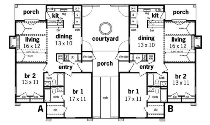 Alberton Stucco Duplex Design Plan House Plans