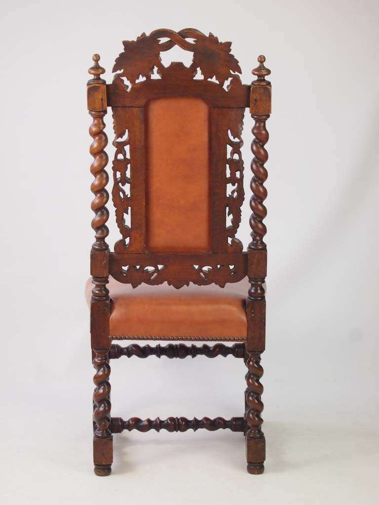 Antique Victorian Oak Gothic Revival Chair Label