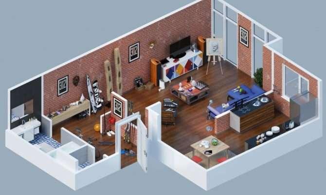 Apartment Designs Shown Rendered Floor Plans