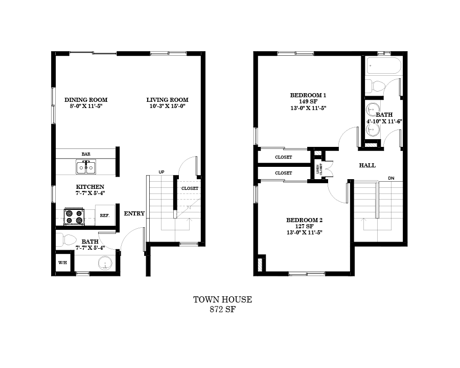 Apartment Floor Plan Besides Story Bedroom Townhouse Plans