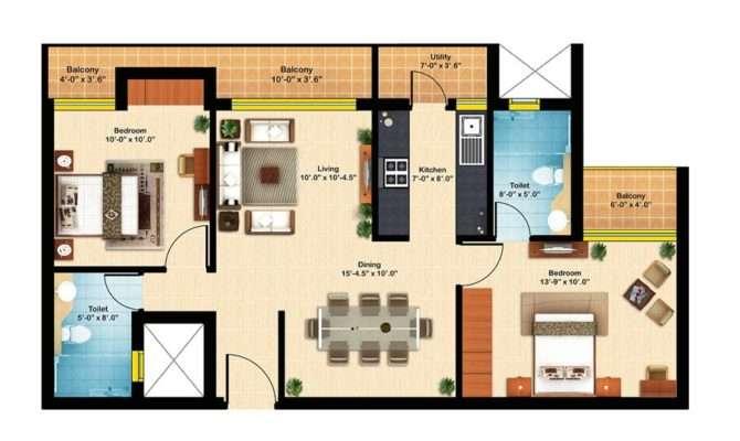 Apartment Floor Plans Bhk Plan
