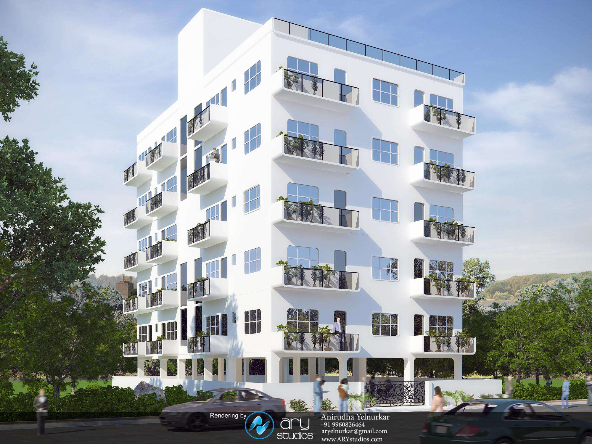 Architectural Rendering Modern Apartment Building Arystudios