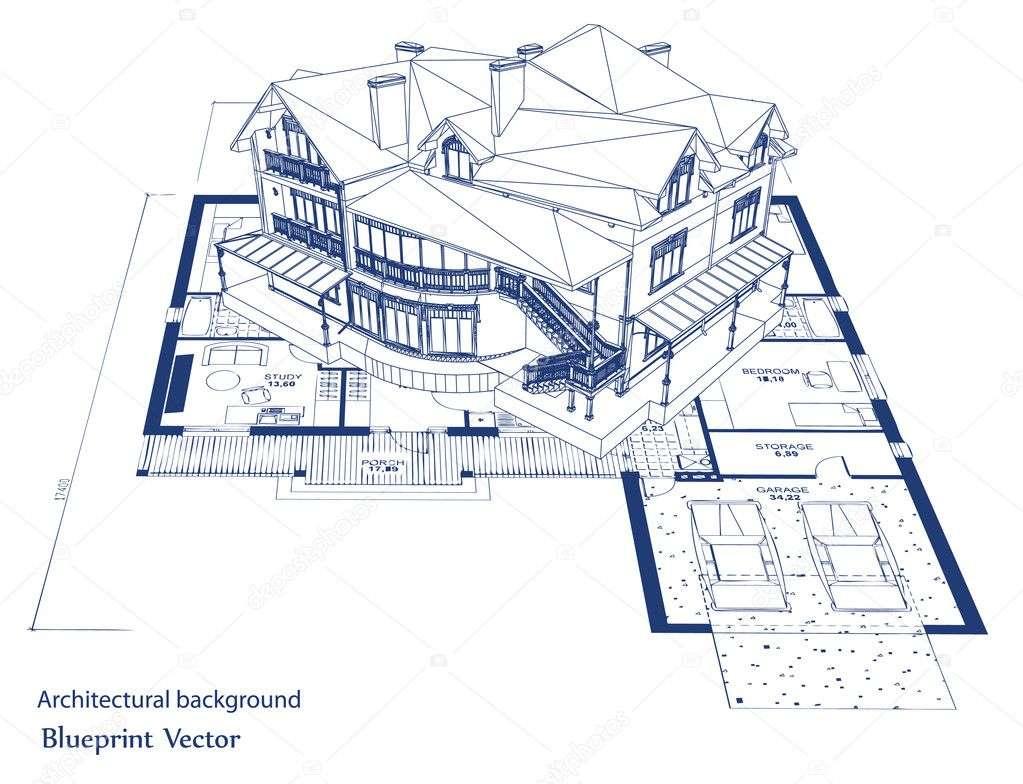 Architecture Blueprint House Vector