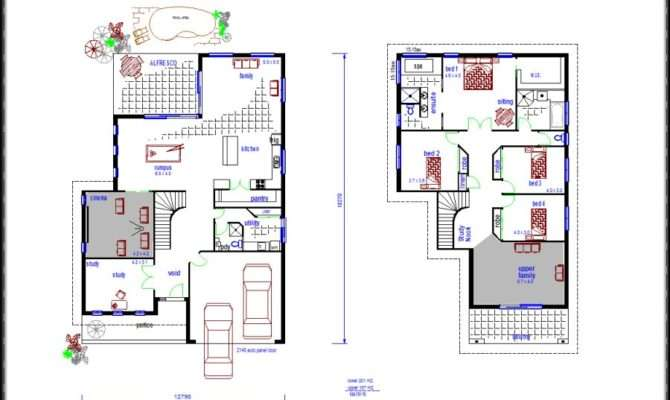 Architecture Two Storey House Floor Plan Small Contemporary