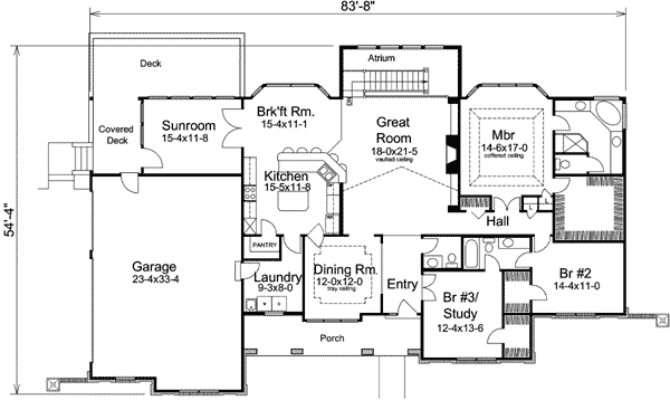 Atrium Ranch Home Plan Sunroom