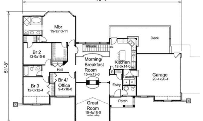 Atrium Ranch Home Plan Traditional