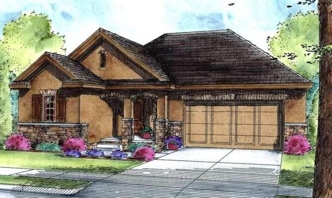 Atrium Ranch House Plan Pocket Office