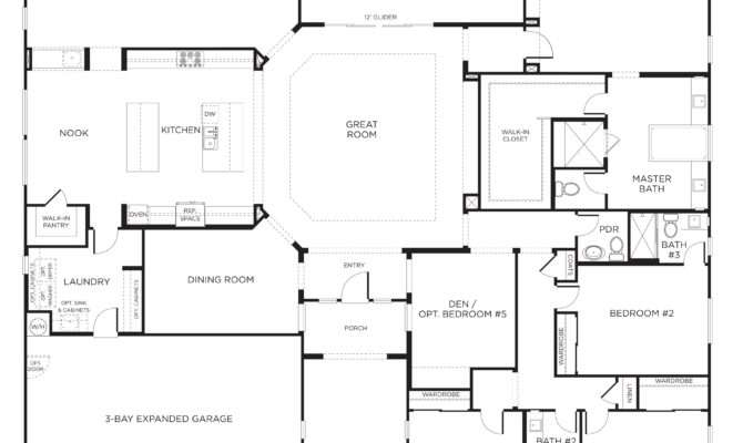 Awesome Bedroom One Story Floor Plans Collection Also