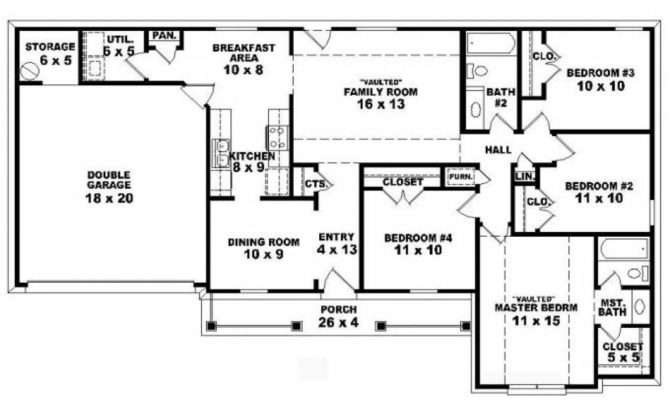 Awesome Single Story Bedroom House Plans Plan