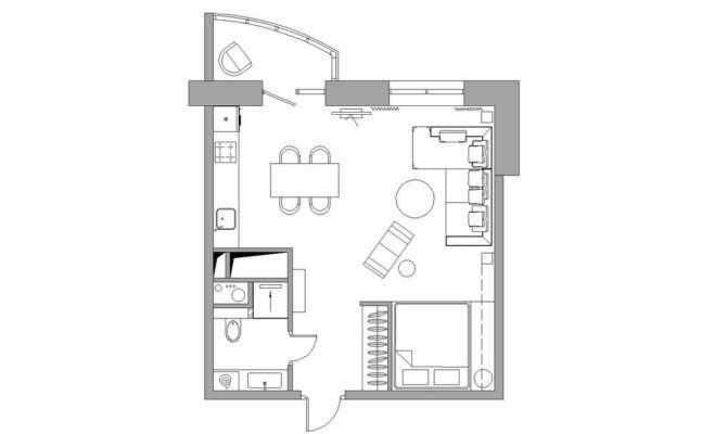 Bachelor Apartment Layout Interior Design Ideas