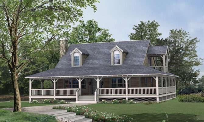 Back Country Style Houses Wrap Around Porch