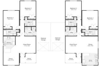 Back Duplex Floor Plans Garage