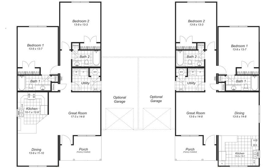 Back Duplex Floor Plans Garage
