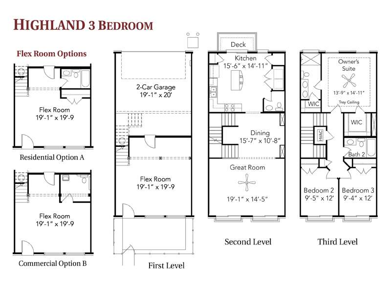 Back Galleries Story Townhouse Floor Plans