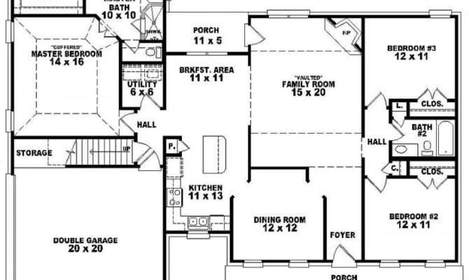 Bath Traditional Style House Plan Plans Floor Home