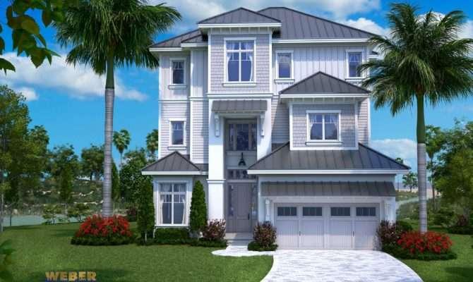 Beach House Plan Open Layout Home Floor Pool