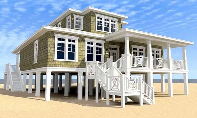 Beach House Plans Two Story Coastal Home Plan