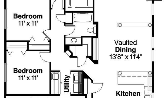 Beautiful Bedroom Bungalow House Plans Hall Kitchen
