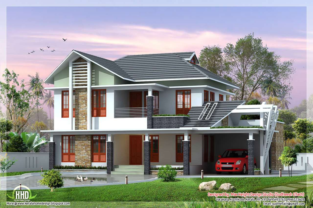 Beautiful Villa Elevation Designs Feet Kerala Home Design