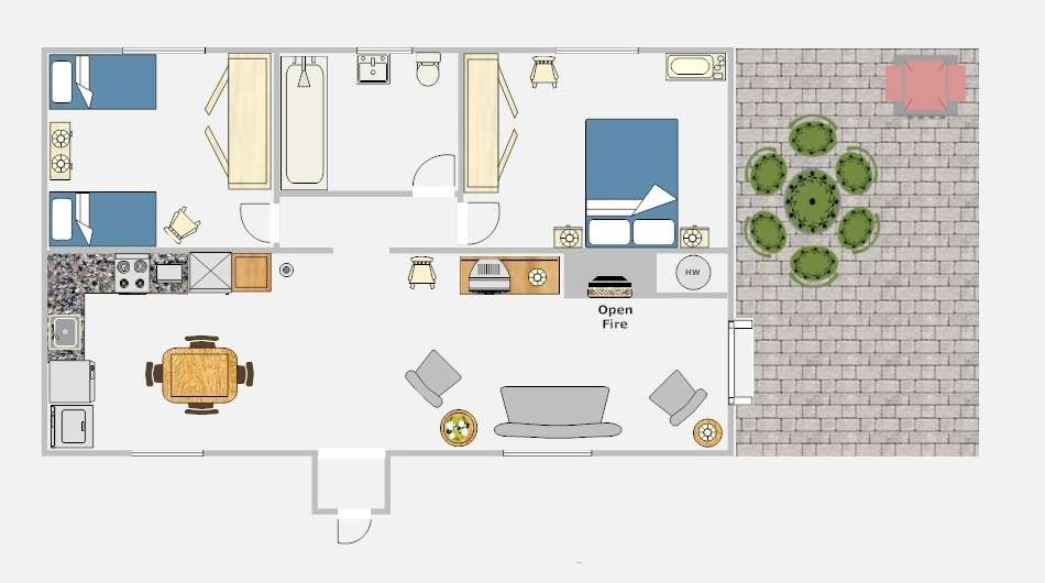 Bed Cottage Floor Plan