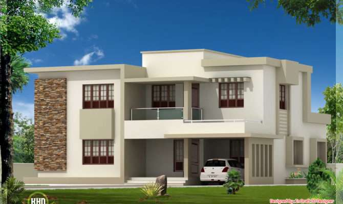 Bedroom Contemporary Flat Roof Home Design Architecture House Plans