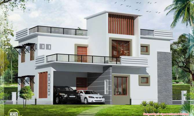 Bedroom Contemporary Flat Roof House Design Plans