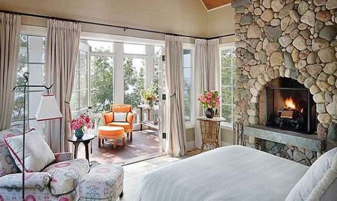 Bedroom Cottage Style Bedrooms Ideas Fireplace