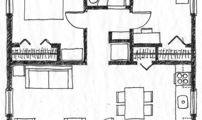 Bedroom Designs Small House Floor Plan Without Legend Two
