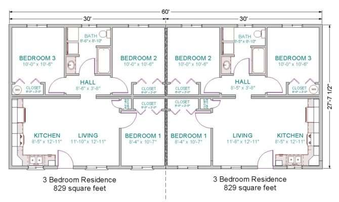 Bedroom Duplex Floor House Plans