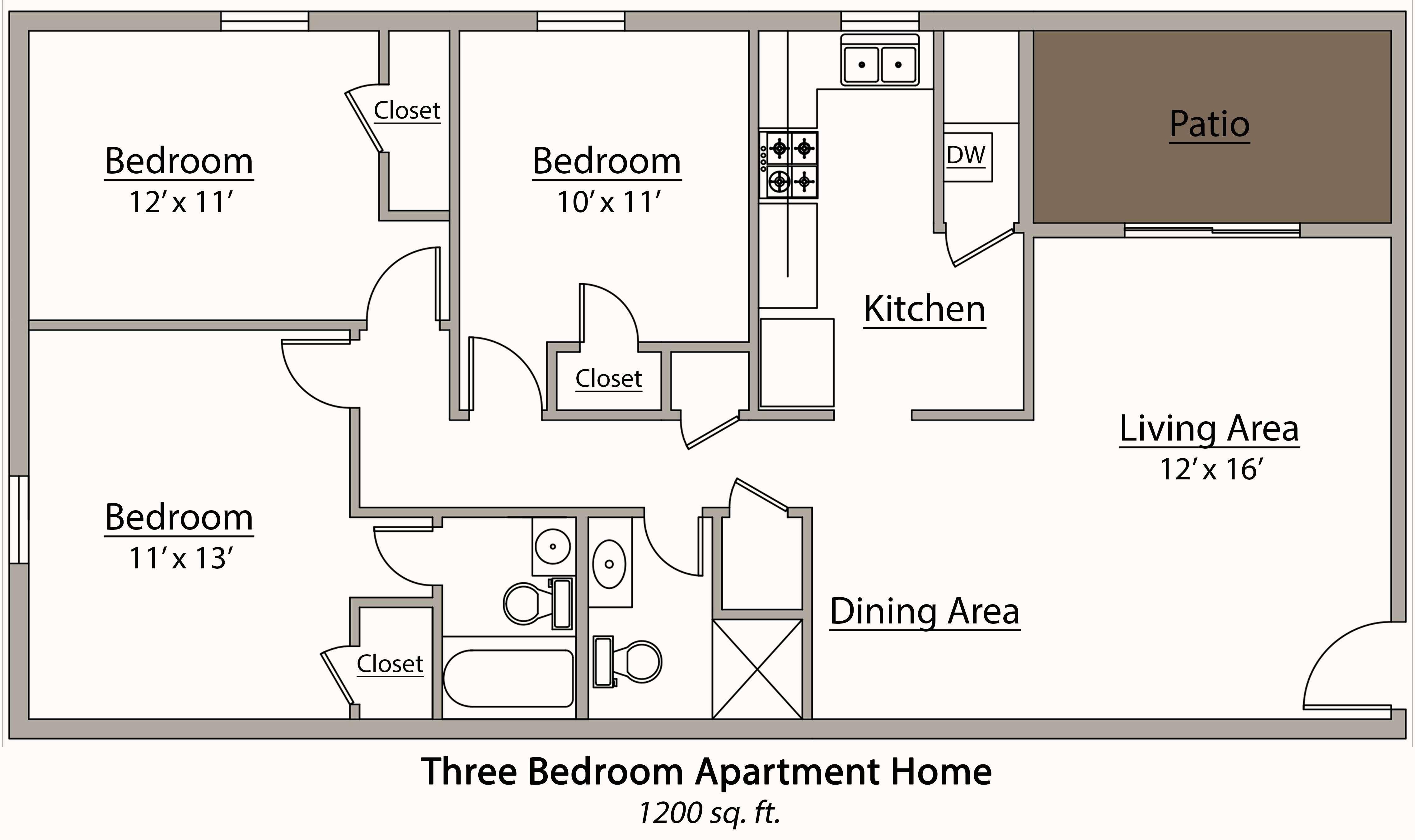 Bedroom Flat Plan Drawing Modern House