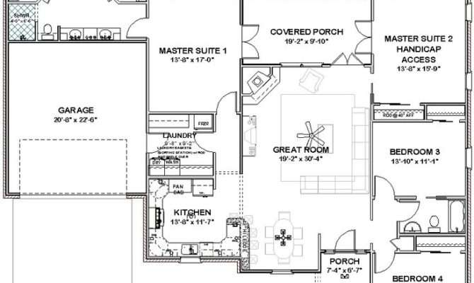 Bedroom Home Double Master Single Story