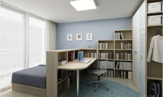 Bedroom Home Office Combo Divided Bookcase