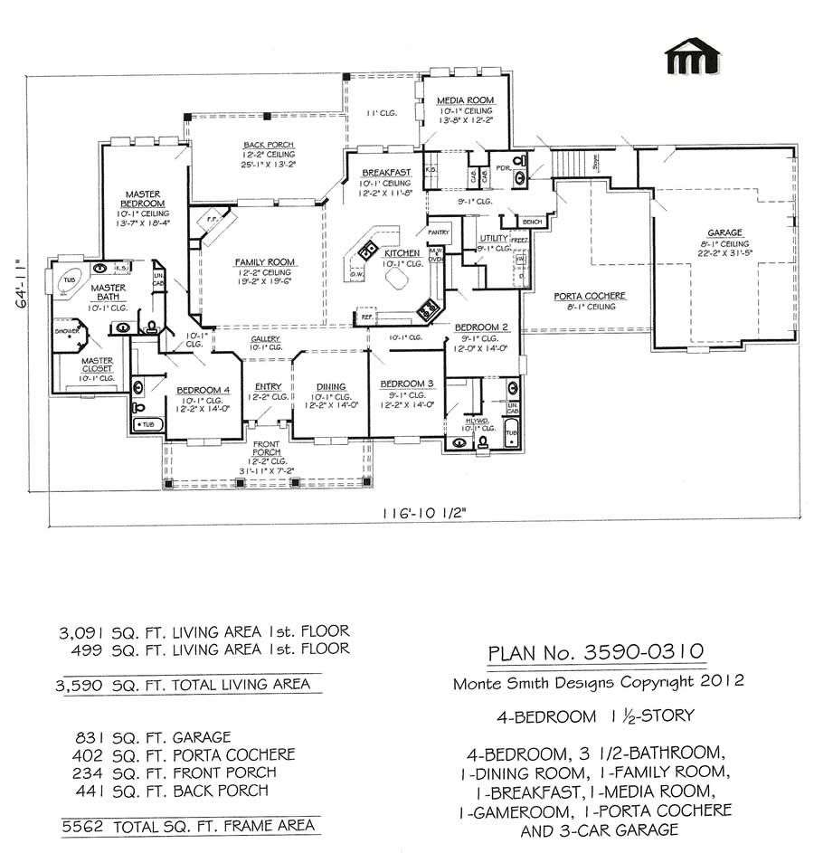 Bedroom House Plans Media Room