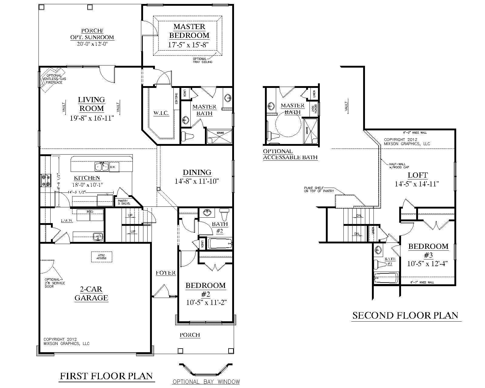 Bedroom House Plans Story Traditional Plan