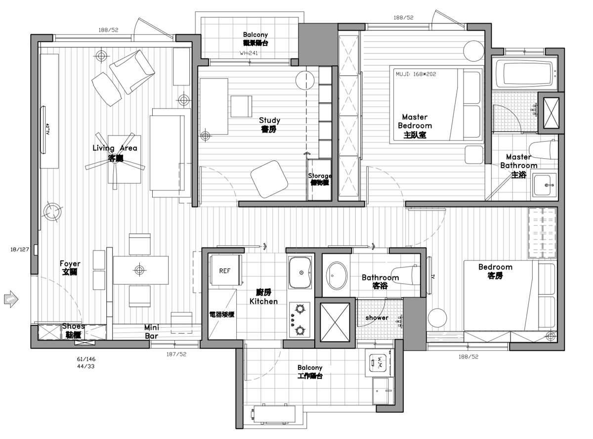 Bedroom Modern Apartment Design Under Square Meters