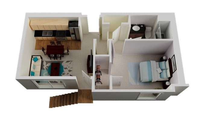 Bedroom One Bathroom Two Large Closets Combined Living