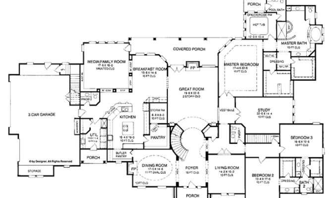 Bedroom One Story House Plan Exercise Room Office Formal