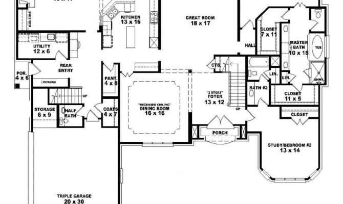 Bedroom One Story House Plans Marceladick