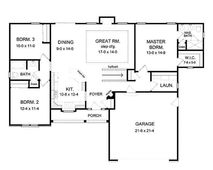 Bedroom Ranch Floor Plans Aflfpw
