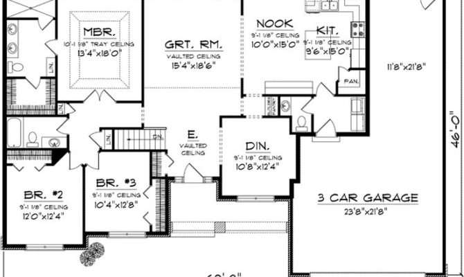 Bedroom Ranch Floor Plans First Plan House