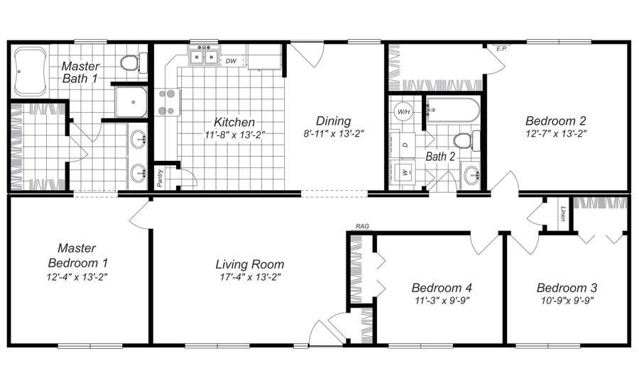 Bedroom Ranch House Plans Pamminv Four Home