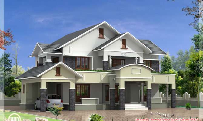 Bedroom Sloped Roof House Feet Design Plans