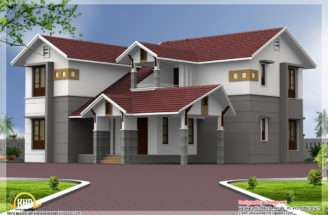 Bedroom Sloping Roof House Elevation Architecture Plans