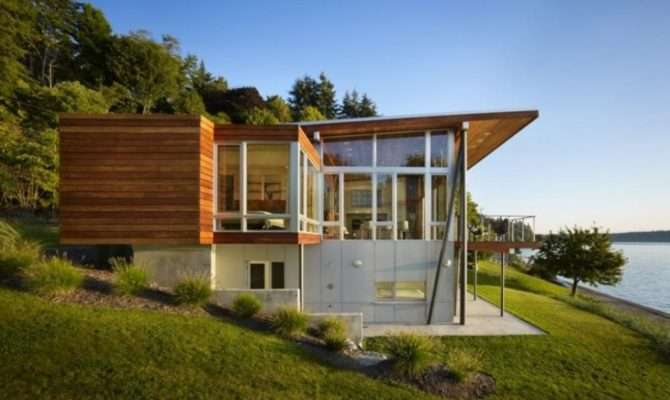 Beside Lake Modern Wooden House Design Olpos