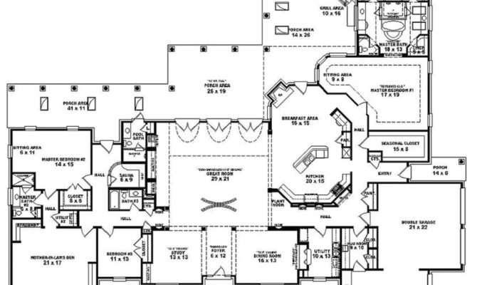 Best House Plans Bedroom Single Story Spanish