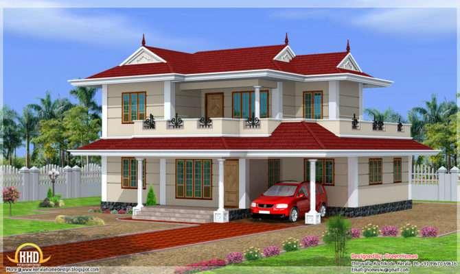 Bhk Double Storey House Design Kerala Home Floor Plans