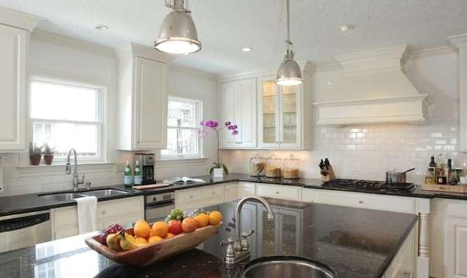 Black Granite Countertops Transitional Kitchen