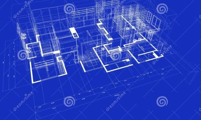 Blueprint Style Rendered House White Outlines Blue