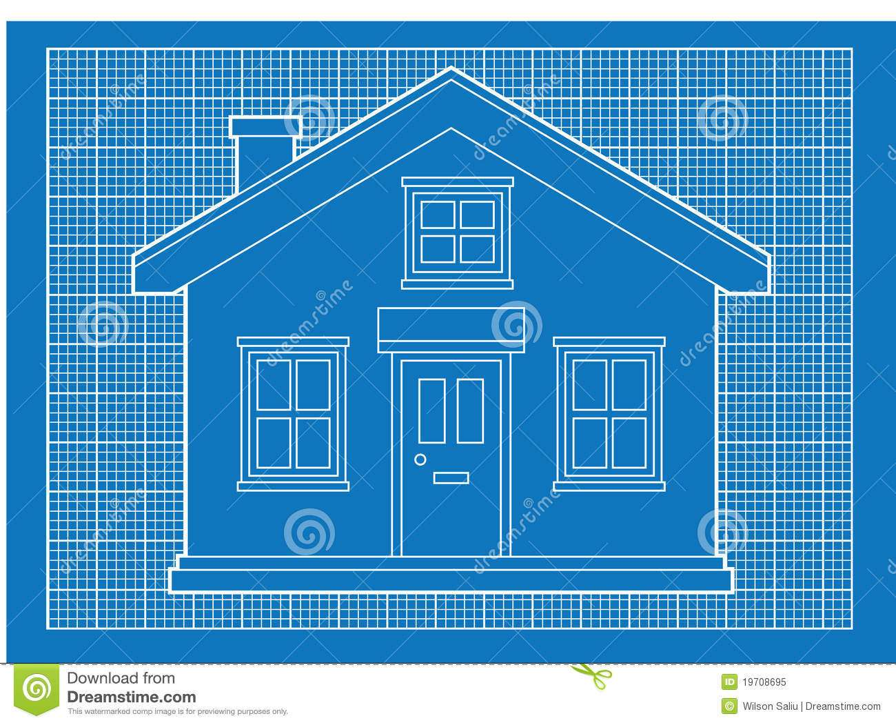 Blueprints Simple House Blue Graph Paper Format Building